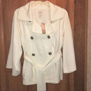 Chicos Ivory Double Breasted Jacket 2 Petite NWT